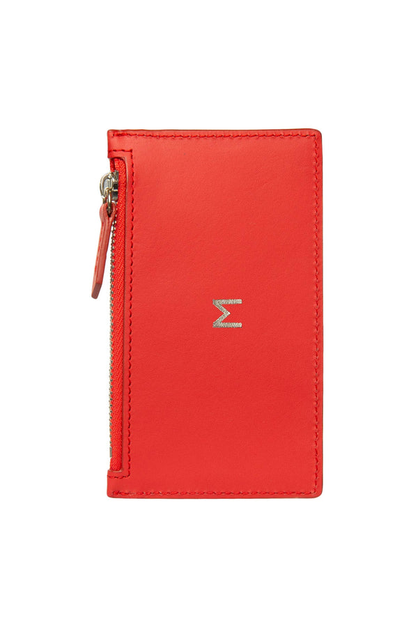 Leather Zip Card Holder - Red