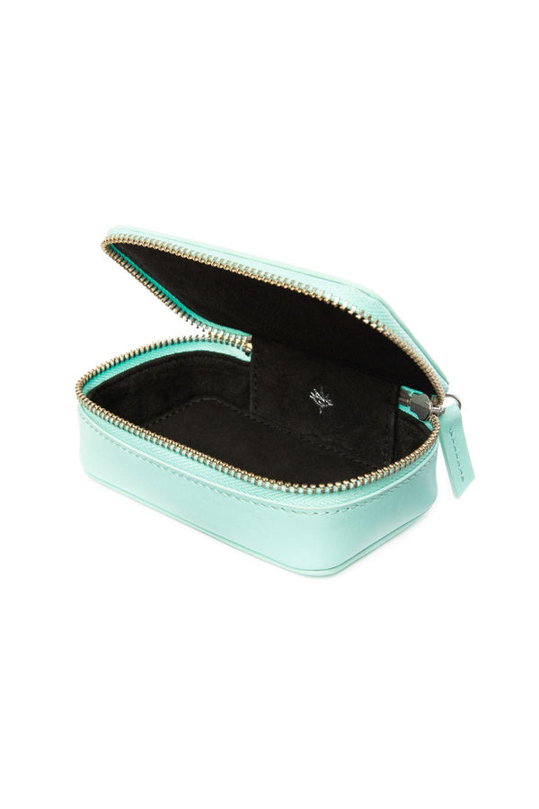 Leather Jewellery Zip Case - Tiffany Blue