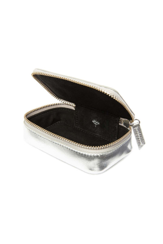 Leather Jewellery Case - Silver