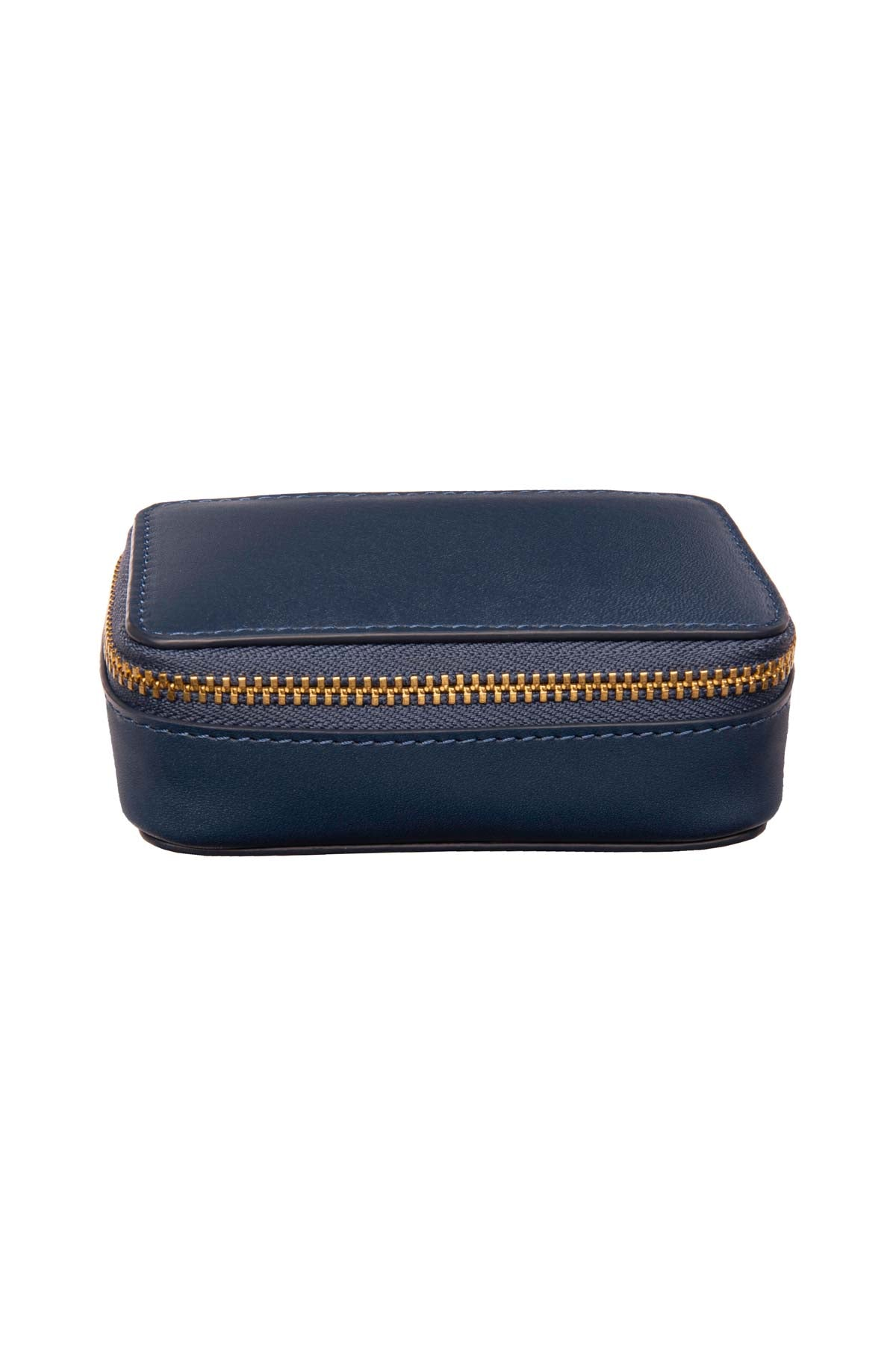 Leather Jewellery Zip Case - Navy