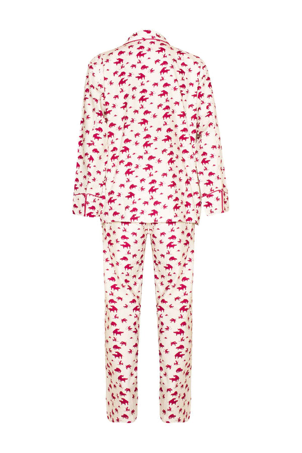 Naughty Print Silk PJ's - Red