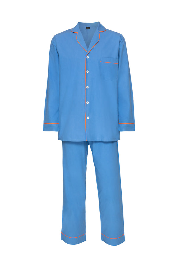 Men's Cotton Pyjamas - Blue & Orange Piping