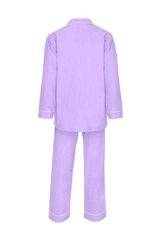 Women's Cotton Pyjamas - Purple & White Piping