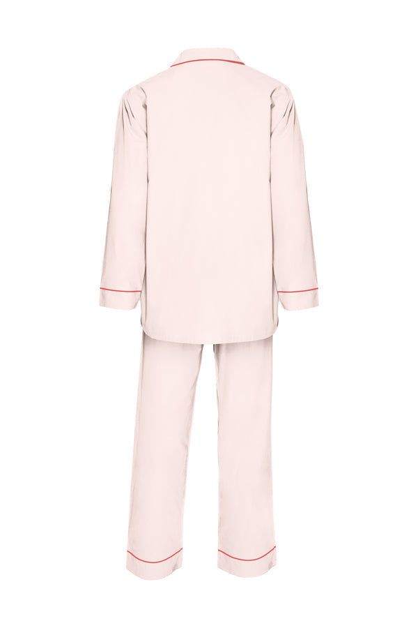Men's Cotton Pyjamas - Pale Pink & Rose Piping