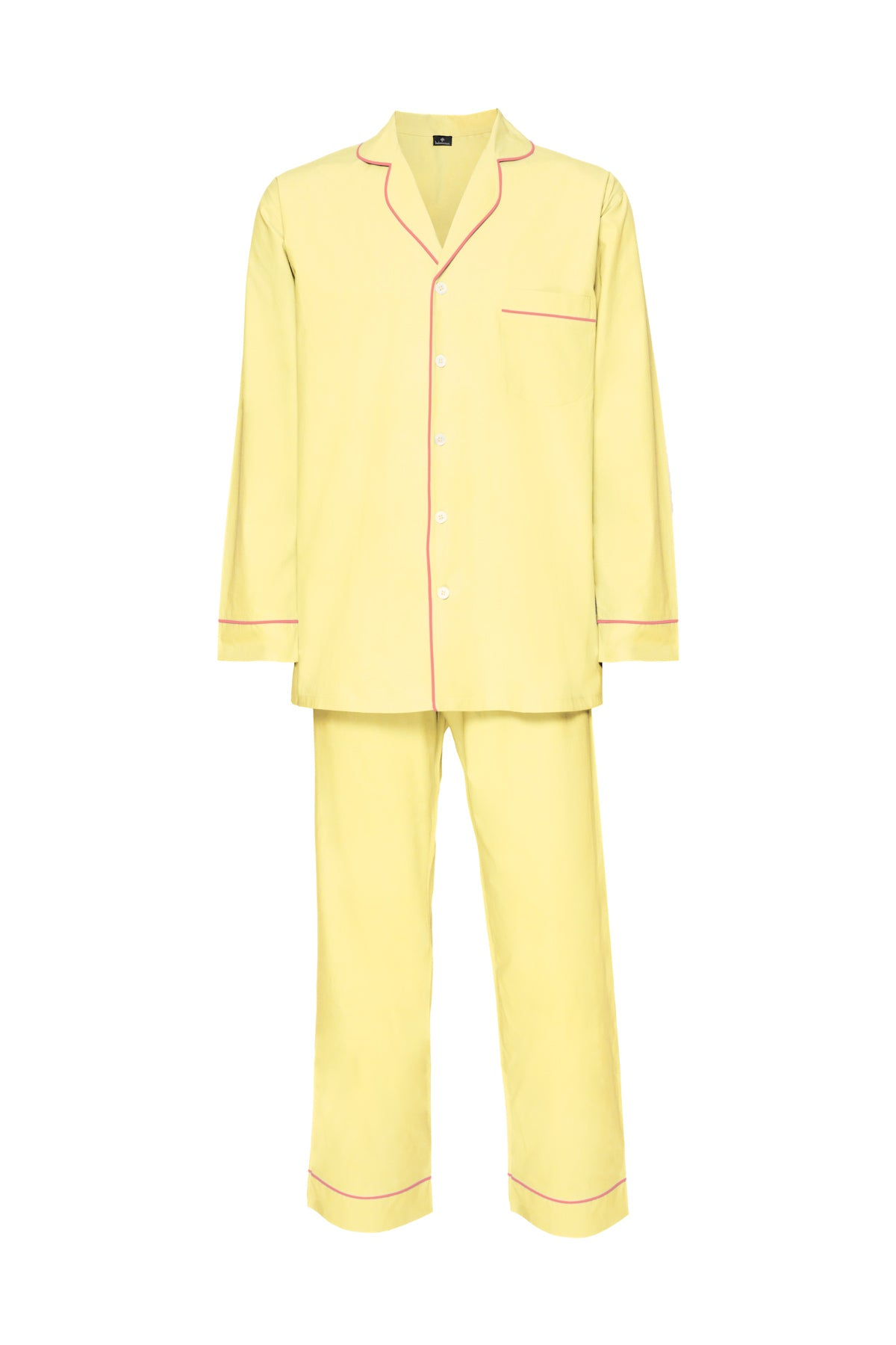 Men's Cotton Pyjamas - Yellow & Pink Piping