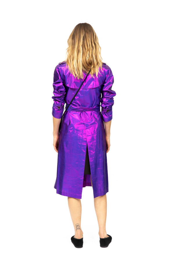 Metallic Silk Trench - Purple