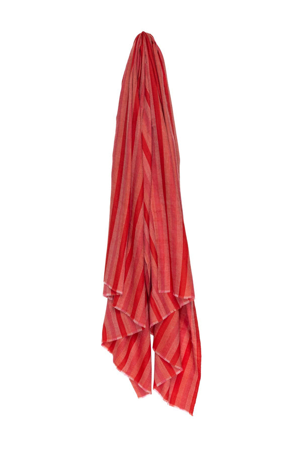 Multi Stripe Pashmina - Red