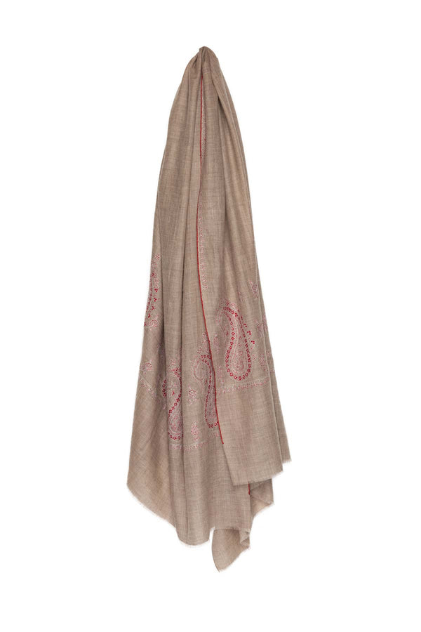 Hand Embroidered Pashmina - Beige & Red