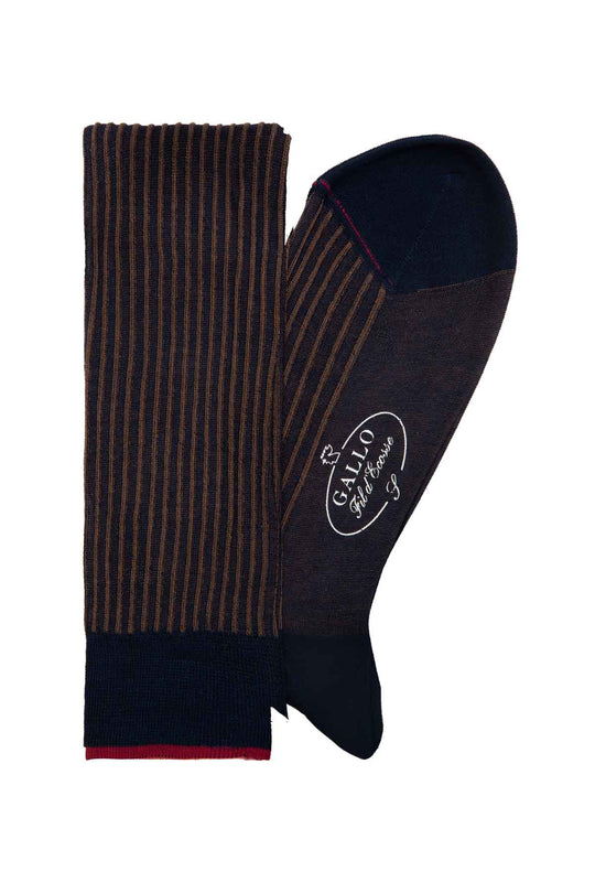 Italian Ribbed Socks - Navy & Brown
