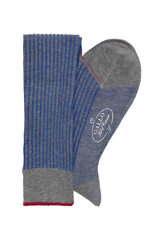 Italian Ribbed Socks - Grey & Blue