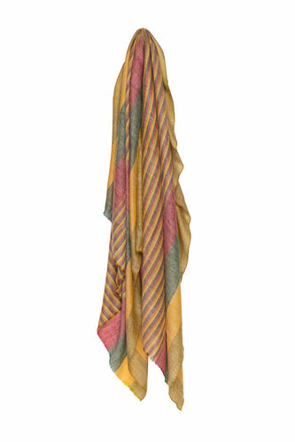 Multi Stripe Pashmina - Yellow Red & Green
