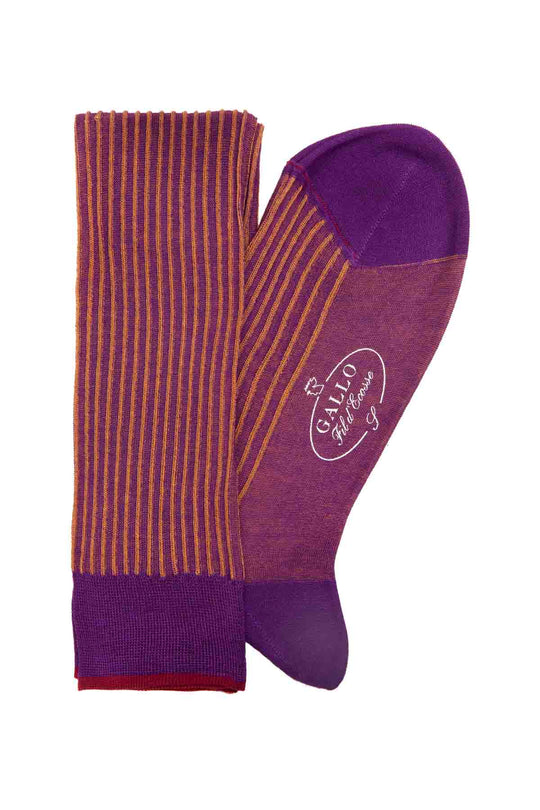 Italian Ribbed Socks - Purple & Yellow