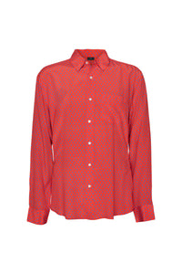Men's Silk Shirt - Red & Blue Hearts