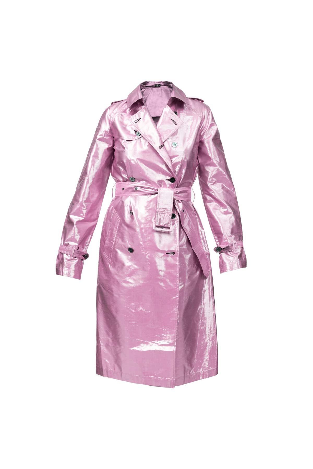 Metallic Silk Trench - Dusty Pink
