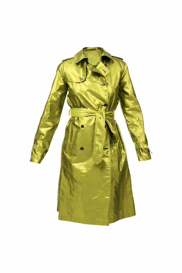 Metallic Silk Trench - Green Gold