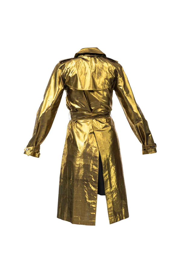 Metallic Silk Trench - Gold