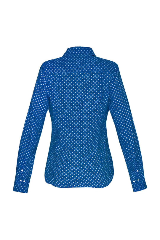 Women's Cotton Shirt - Blue Crosses