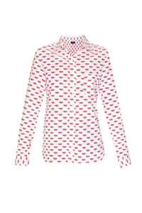 Women's Cotton Shirt - Red Lips