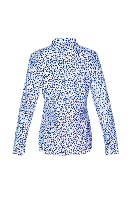 Women's Cotton Shirt - Blue Hearts