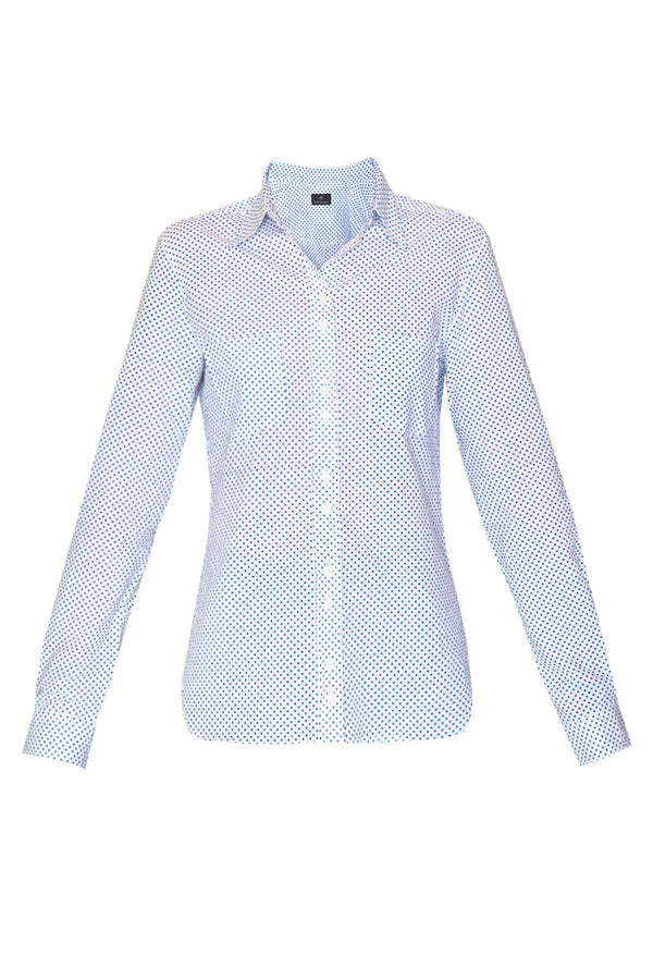 Women's Cotton Shirt - Blue Mini Polka