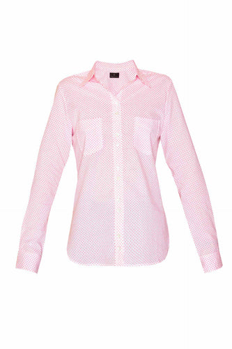 Women's Cotton Shirt - Pink Mini Polka
