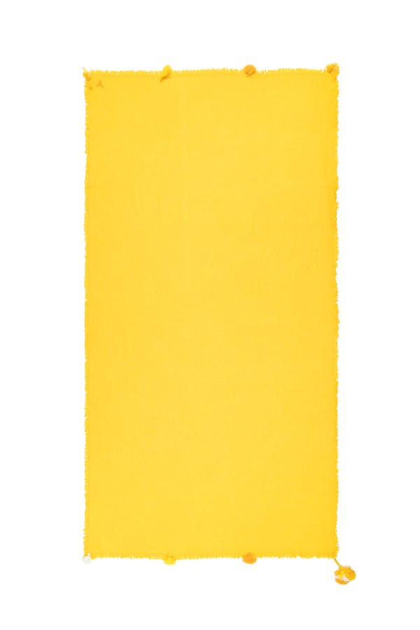 Cashmere Shawl With Tassels - Yellow