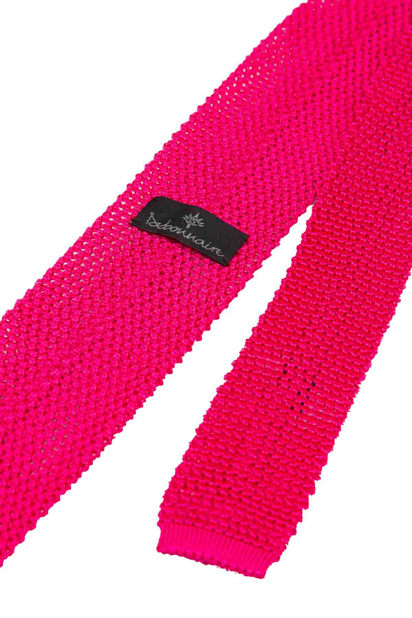 Italian Knitted Tie - Bright Pink