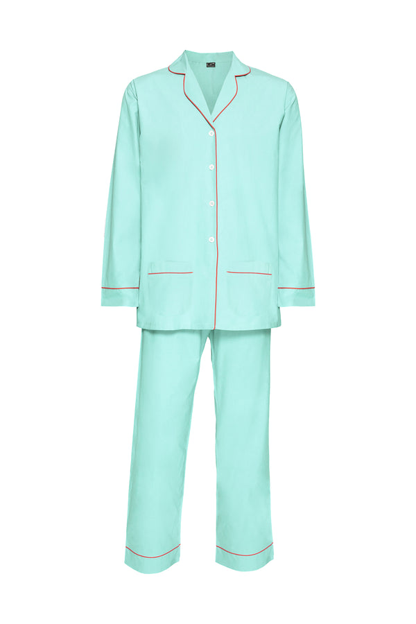 Women's Cotton Pyjamas - Turquoise & Coral Piping
