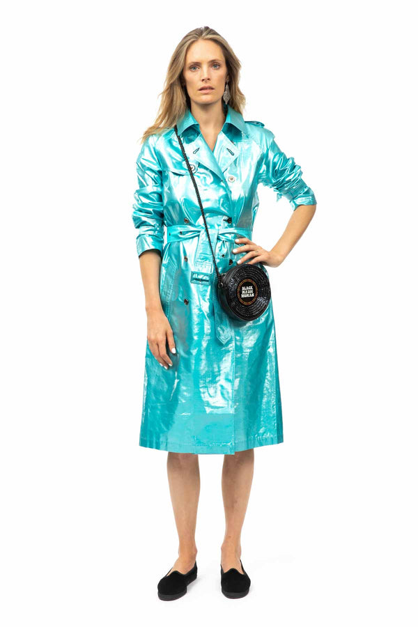 Metallic Silk Trench - Turquoise