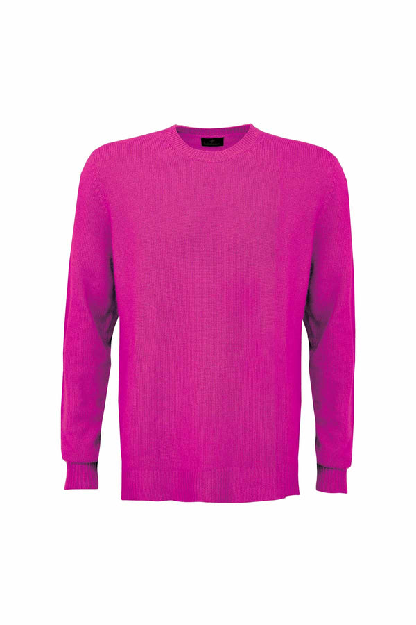 Men's Cashmere Jumper - Raspberry Rose