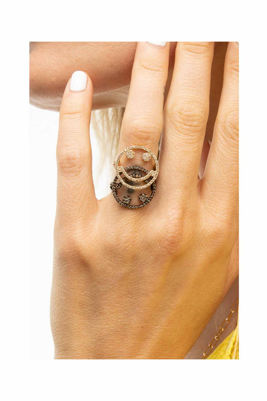 Rhodium Smile Ring - Brown Diamond
