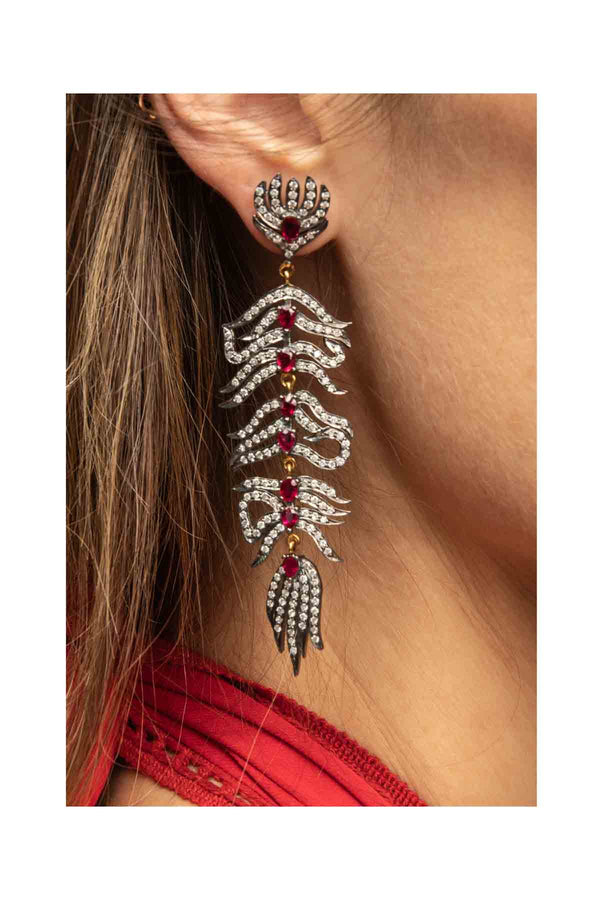 Diamond & Ruby Feather Earrings
