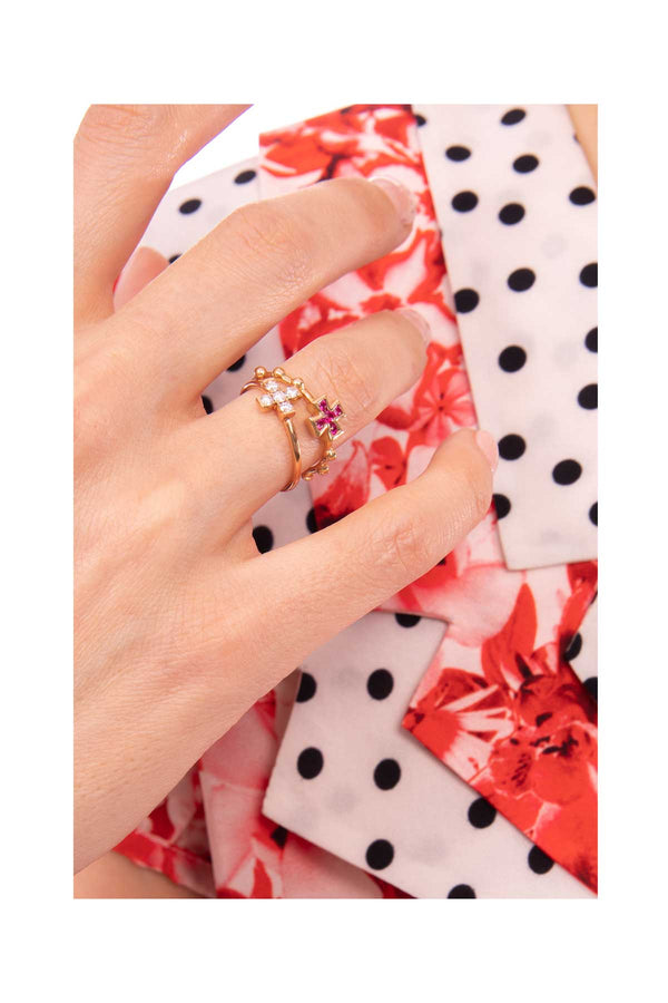 Baroque Cross Ring - Ruby