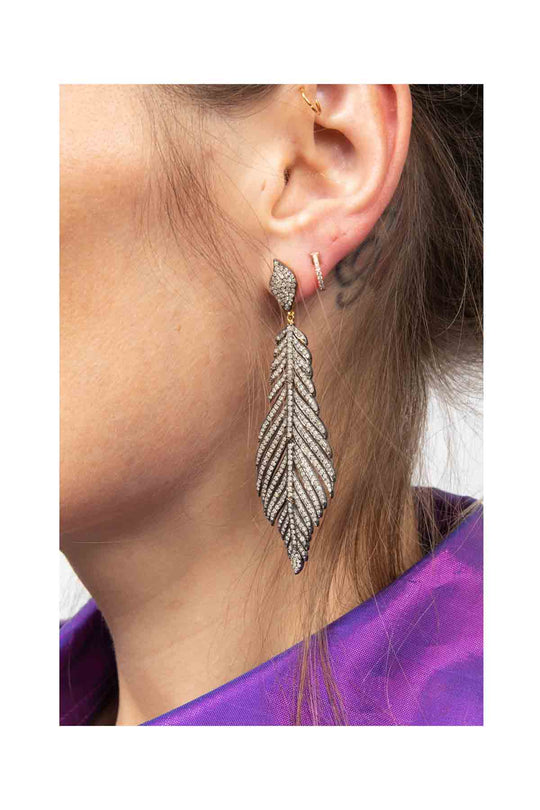Feather Gold and Diamond Earrings