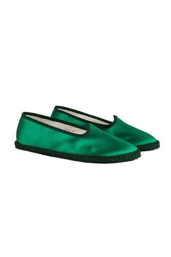 Venetian Satin Slippers - Tatti Green