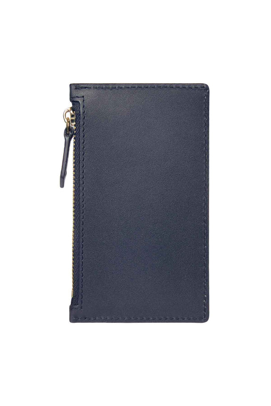 Leather Zip Card Holder - Navy