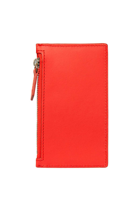 Leather Zip Card Holder - Coral