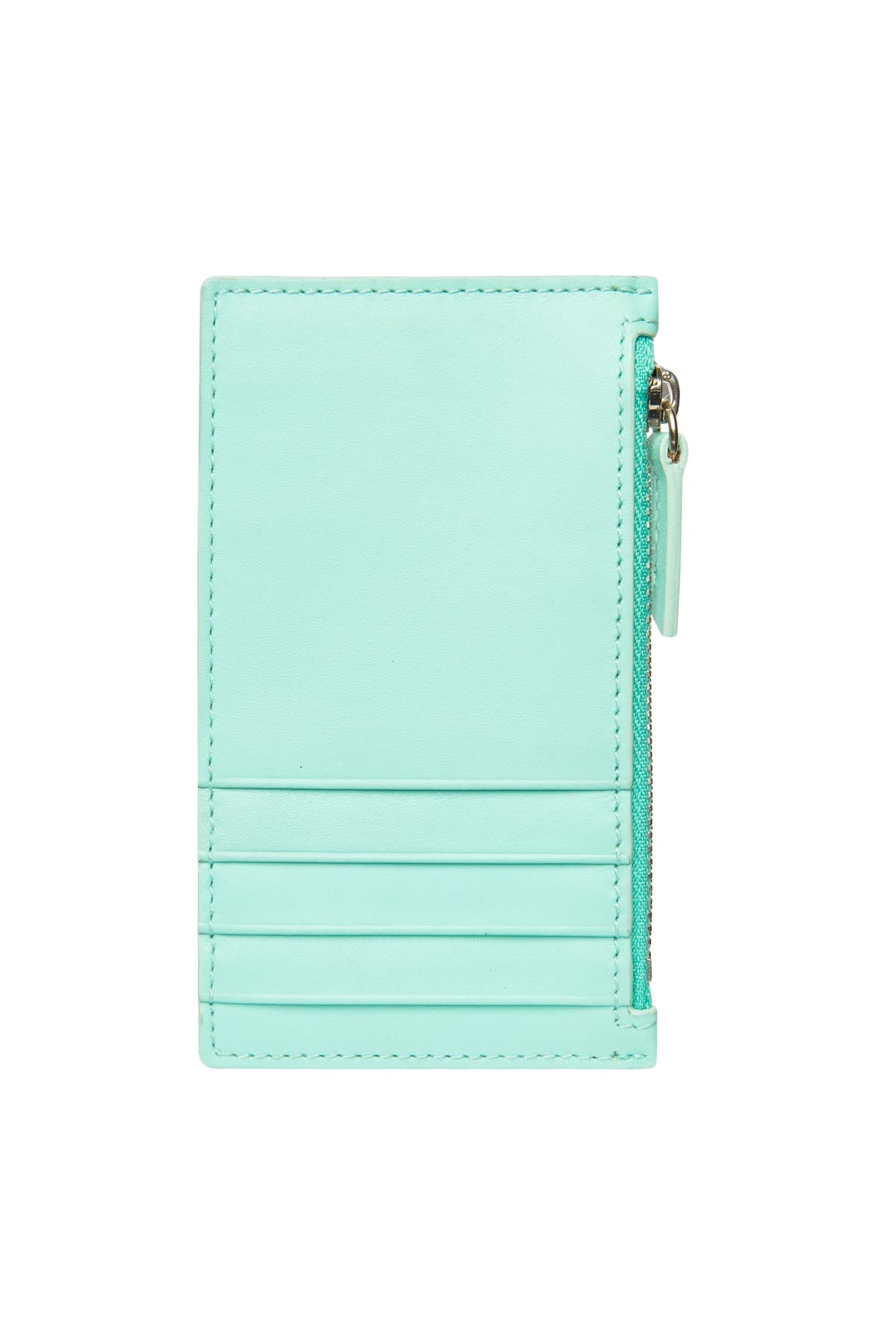 Leather Zip Card Holder - Tiffany Blue