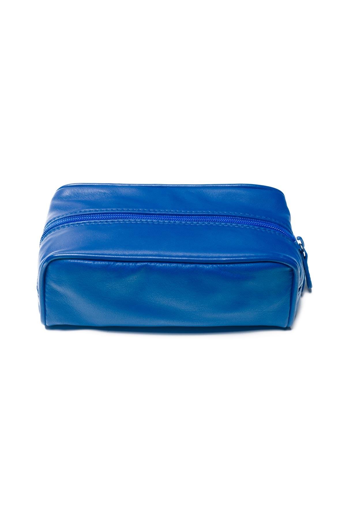 Small Leather Washbag - Blue
