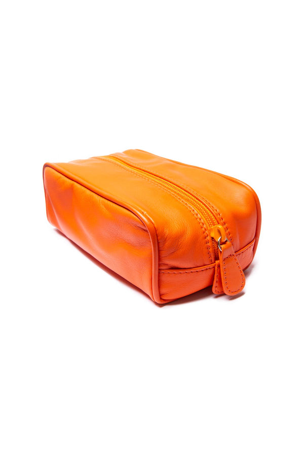 Small Leather Washbag - Orange