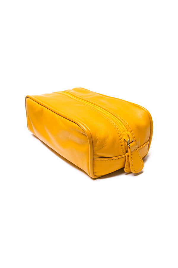 Small Leather Washbag - Yellow