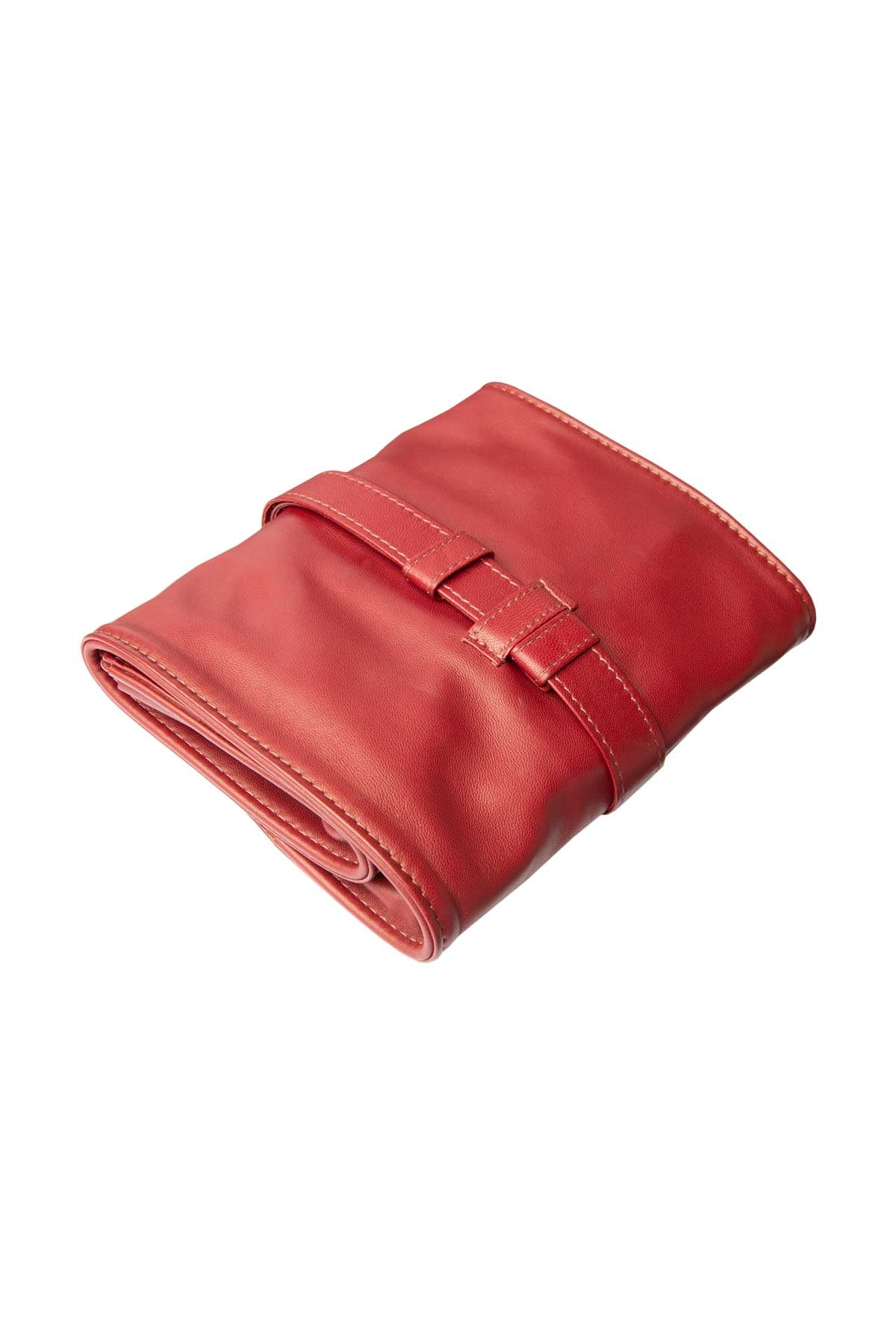 Lambskin Roll-Up Manicure Set - Burgundy