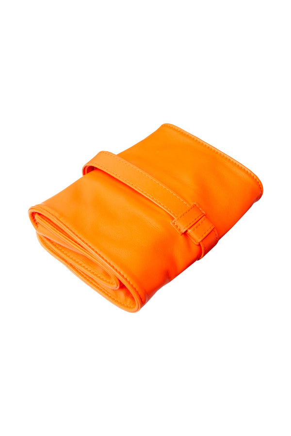 Lambskin Roll-Up Manicure Set - Orange