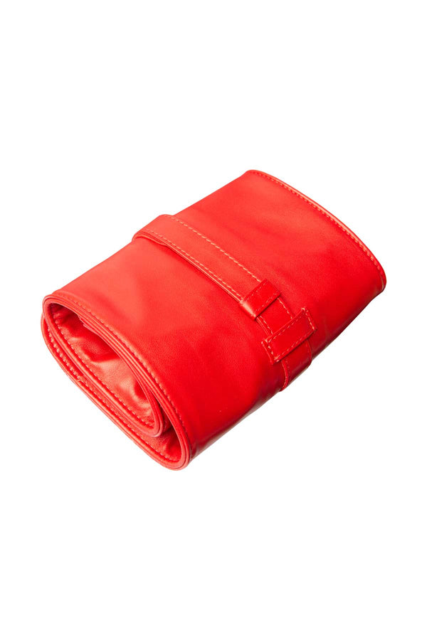 Lambskin Roll-Up Manicure Set - Red
