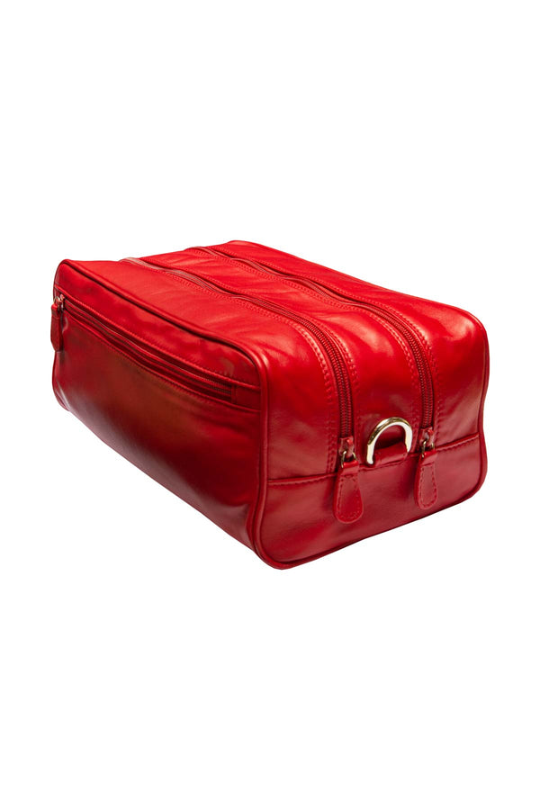 Large Leather Washbag - Red