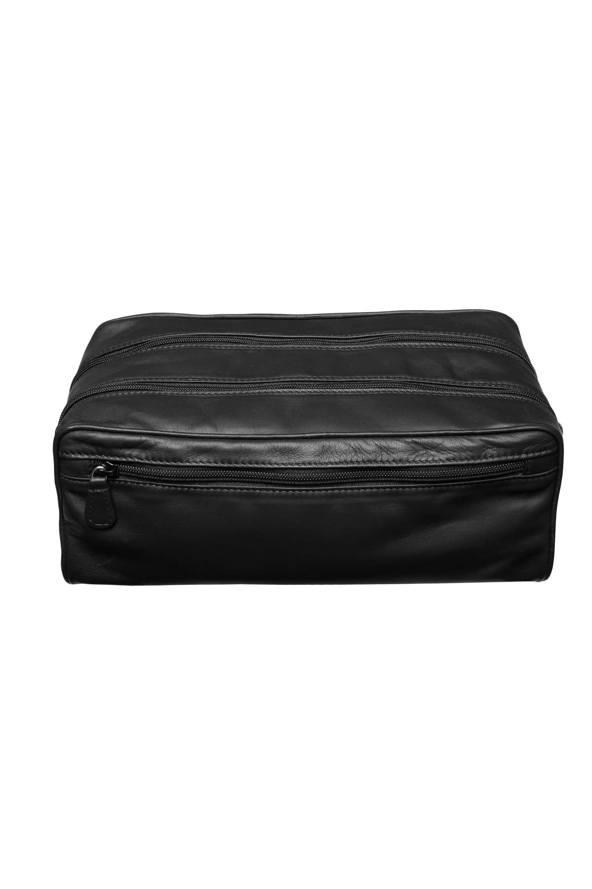 Large Leather Washbag - Black
