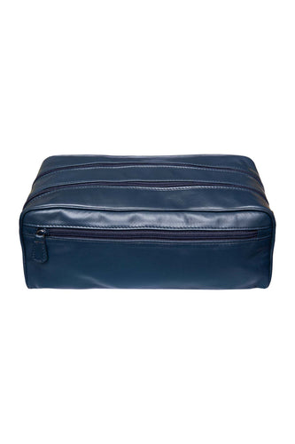 Large Leather Washbag - Navy