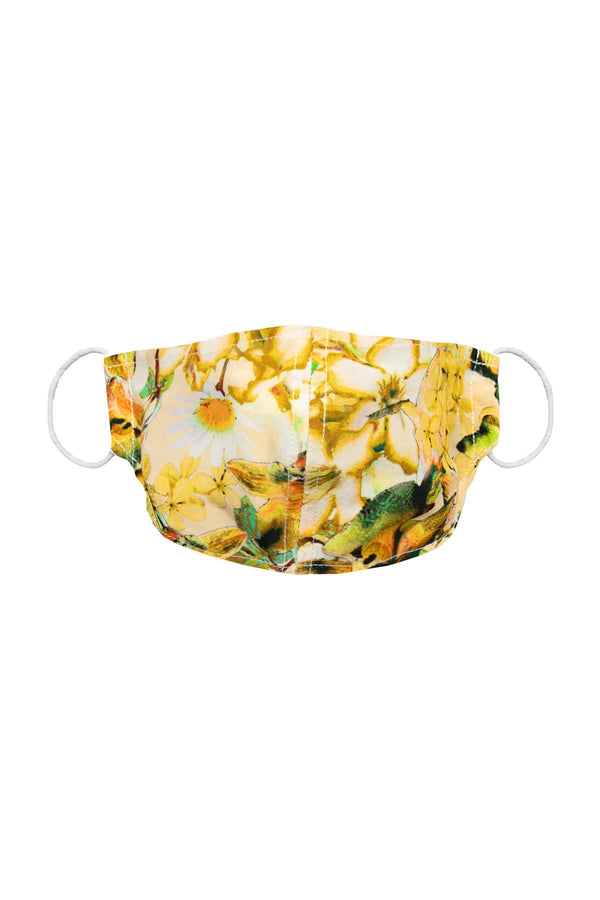 Silk Face Mask - Yellow Orchid