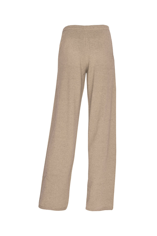 Men's Cashmere Flat Knit Trousers - Dark Natural