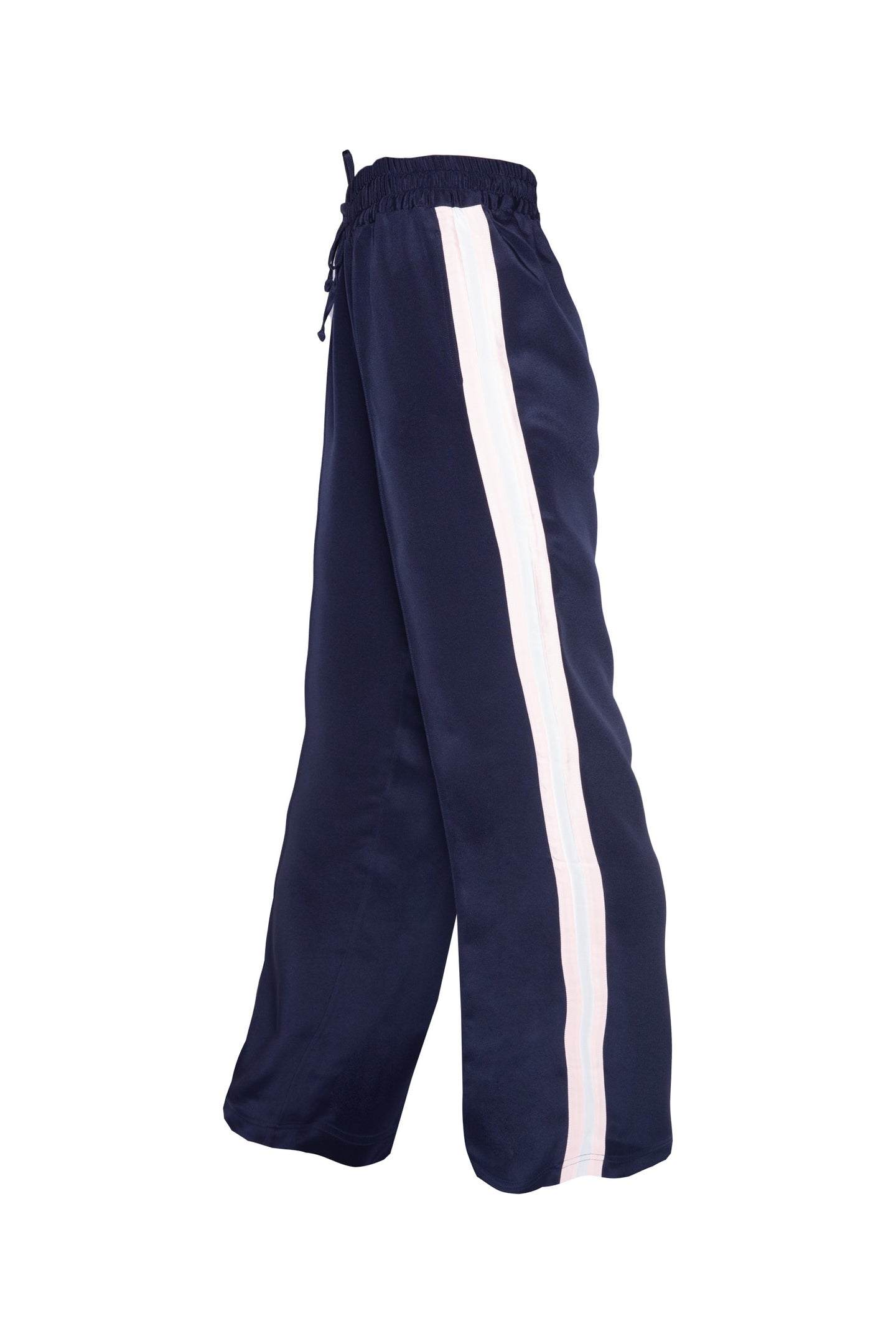 Classic Silk Joggers - Navy With Pink & White Stripe